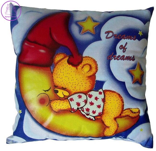 9c738f23a4e Svítící polštářek Medvídek dreams of dreams modrý 28x28 cm